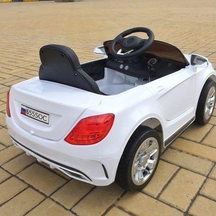 Электромобиль БМВ Б555ОС белый (резиновые колеса, кожа, пульт, музыка)