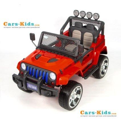Электромобиль Jeep T008TT 4WD красный (2х местный, полный привод, колеса резина, кресло кожа, пульт музыка)